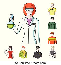 People of different professions cartoon icons in set...