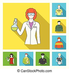 People of different professions flat icons in set collection...