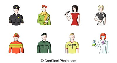 People of different professions icons in set collection for design. Worker and specialist vector symbol stock web illustration.