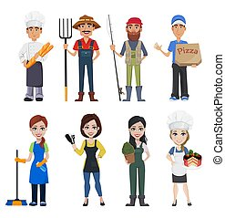 People of different professions. Set of male and female cartoon characters with various occupations. Creative vector illustration on white background