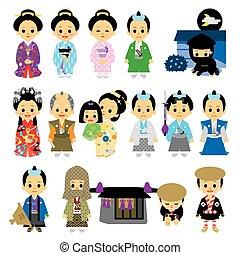 People of Edo period Japan 02 samurai, Tokugawa period,...