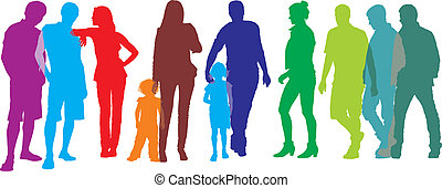color vector illustration of a diverse group of women, men and children