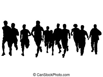 People of run on white background