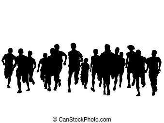 People of run on white