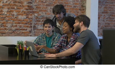 People office diverse mix race group businesspeople working