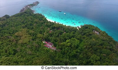 People on a beach behind a forest - A birds eye view of...