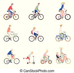 People On a bicycle. Set of cartoon men, women and children on bikes.