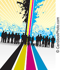 people on a cmyk line background