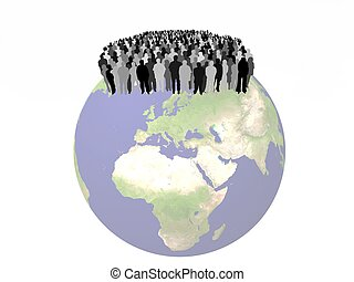 people on a globe