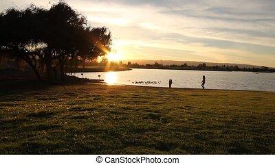 People on a lake