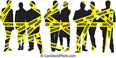 caution tape - people on a police caution tape background