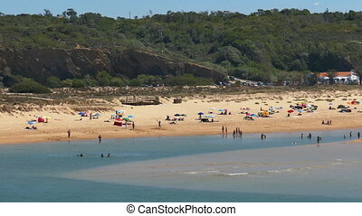 People on Beach, panoramic view