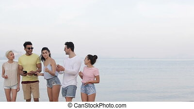 People On Beach Talking Using Cell Smart Phones, Young Tourists Group Networking Online Laughing
