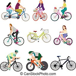 People on bicycles, white background.