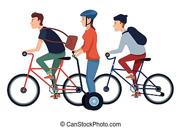 People on bikes and electric scooters