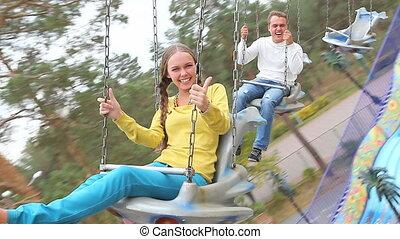 People on carousel