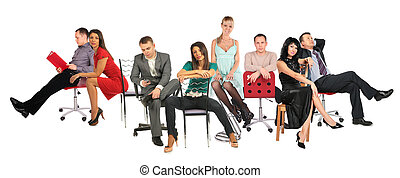 people on chairs collage