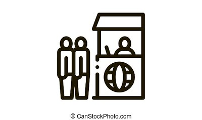 people on check control Icon Animation. black people on check control animated icon on white background