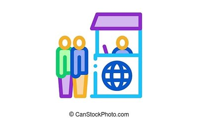 people on check control Icon Animation. color people on check control animated icon on white background