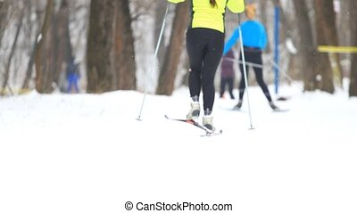 People on cross-country skiing in winter park