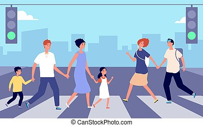 People on crosswalk. Person traffic, pedestrian crowd city street. Man woman cross road on green light, urban lifestyle vector illustration