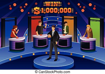 People on Game Show - A vector illustration of people on...