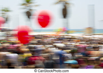 People on Gay Pride Parade, abstract motion blur effect.