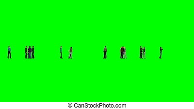 People on green background on green background. Happy business people. Businessman person. Multi-ethnic group. Multi racial. Multi color background. 4k