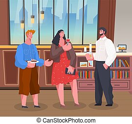People on Home Reception, Men and Woman Talking