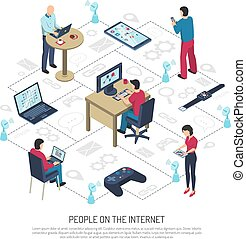 People On Internet Isometric Illustration