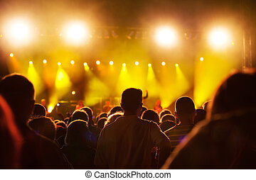 People on music concert - Crowds of people having fun on a...
