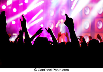 People on music concert, disco party.