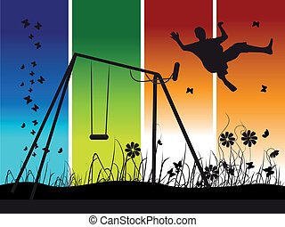 People on nature, summer, swing, silhouette