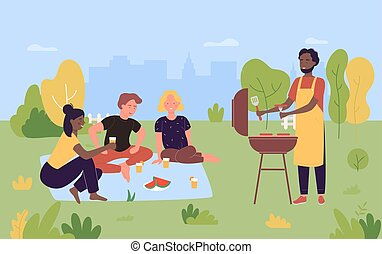People on outdoor picnic party, cartoon happy young friends grilling meat, cooking barbecue sausages