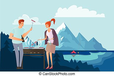 People on picnic or Bbq party in the mountains. Man and woman cooking steaks and sausages on grill. Mountain landscape with lake. Vector illustration.