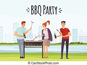 People on picnic or Bbq party. Man and woman cooking steaks and sausages on grill. Vector illustration.