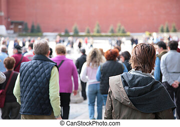 people on Red Square in Moscow. abstract boke