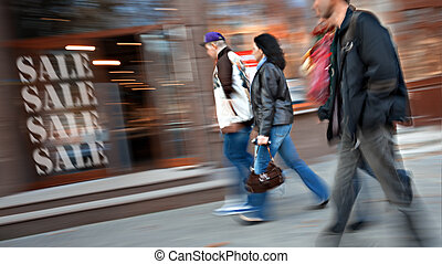 People on sale - Group of people go to the store on sale. ...
