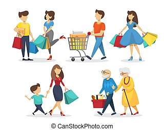 People on shooping set. Grocery and fashion store
