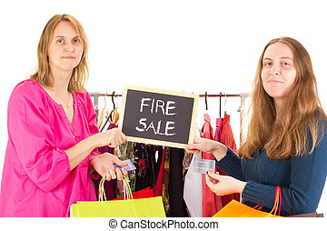 People on shopping tour: fire sale