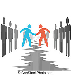 People on sides settle agreement deal - People on two...
