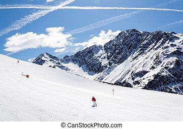 People on ski, snowy mountains, St. Jakob, Defereggen Valley, Austria
