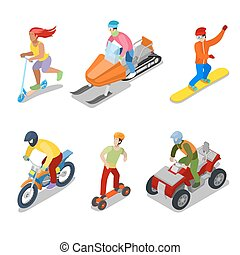 People on Snowboard, ATV and Motorcycle. Extreme Sports. Vector flat 3d isometric illustration