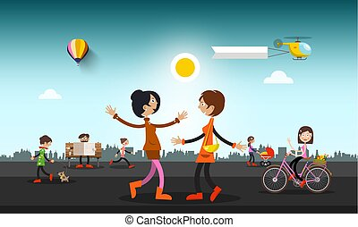 People on Street in City with Helicopter and Hot Air Balloon on Sky. Abstract Vector Town with Skyline on Background.
