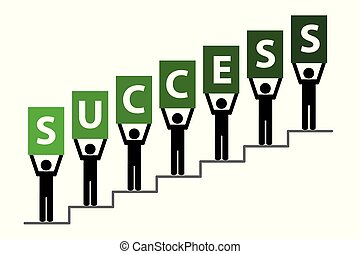 People on success stairs pictogram