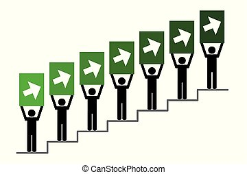 People on success stairs pictogram with arrow to the top