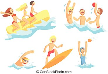 People On Summer Vacation At The Sea Playing And Having Fun With Water Sports On The Beach Series Of Illustrations