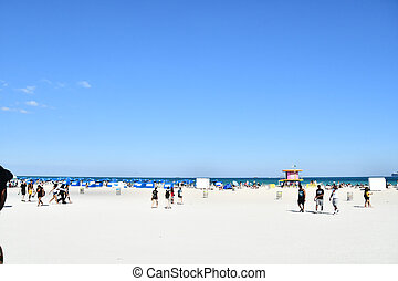 people on the beach, photo as a background