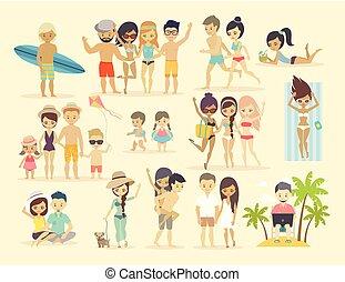 People on the beach.