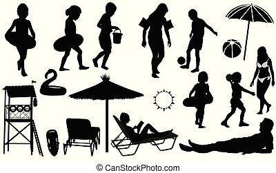 People on the beach vector silhouettes